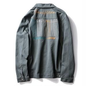 送料無料/ユニセックス/大きいサイズ/バック/カーキ/ロゴ刺繍/デニムジャケット