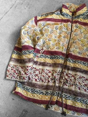 patterned silk blouson