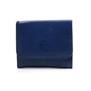 藍染め革の小銭入れ