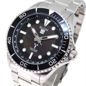 エルジン ELGIN 電波ソーラー 腕時計 メンズ FK1427S-BP クォーツ ブラック シルバー