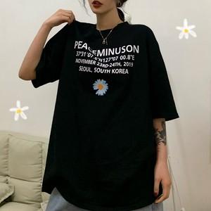 【トップス】韓国系半袖プリントラウンドネックプルオーバーTシャツ