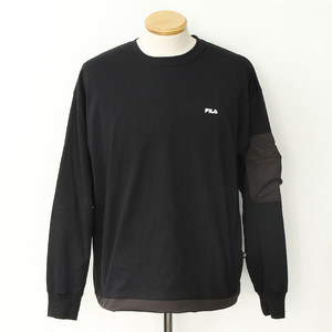[FILA HERITAGE] SLEEVE ZIP POCKET L/S TEE (BLACK)
