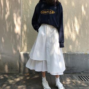 【ボトムズ】INS超人気不規則ハイウエストAラインロングスカート