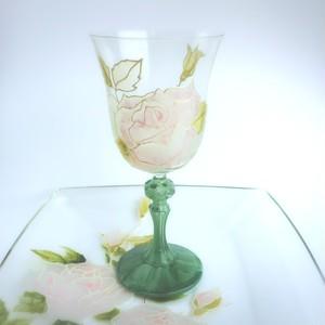 【母の日プレゼント】野バラ大理石風ワイングラス1客/母の日ギフト・誕生日プレゼント