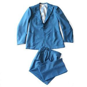 【SALE】Sartoria Caracciolo ナポリ製スーツ 46 フルハンドメイド ベルトレス 青