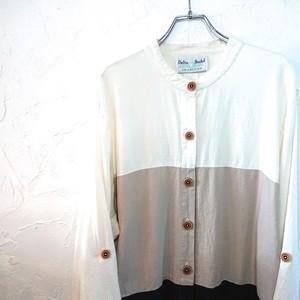 【USED】ノーカラー リネンシャツ ホワイト×ベージュ×ブラック