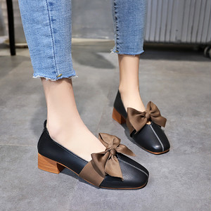 【shoes】カジュアル切り替えリボン付きパンプス18779708