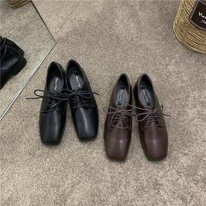 オックスフォード おじ靴 マニッシュ スクエアトゥ レースアップ ローヒール 合皮 革 黒 ブラック 茶 ブラウン フォーマル 大人カジュアル 韓国