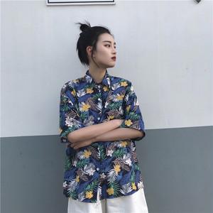 【トップス】カジュアルプリントシングルブレスト半袖シャツ43961737