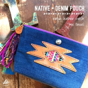 native × denim pouch