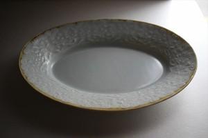 中川洋子|オーバル陽刻中皿 (水色)