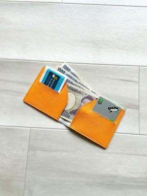 ポップなお財布 スリム コンパクト お札入れ 本革 迷彩柄 メロングリーン & 蛍光 オレンジ