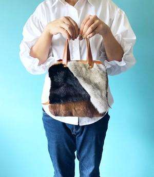 キャラメル ボックス キューブ ハンドバッグ ミンクファー 4種 パッチワーク & 本革 ブラウン系