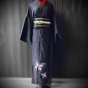 【雅な蝶のデニム着物】ブラック/ダメージ無し