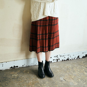 Red Check pleated skirt