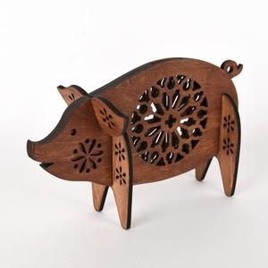 ブタの貯金箱(木製バンク)