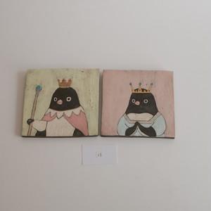 つぐみ製陶所 陶板画 アデリーペンギン 2枚組