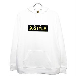 ★A-STYLE BOXロゴプルオーバーパーカー★WHITE