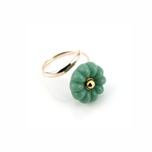 """K10_flower glass_ring """"mint"""""""