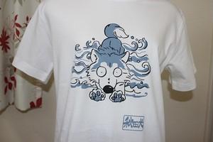 秋田犬Tシャツ半袖Sサイズ(波乗り秋田♪・ホワイト)