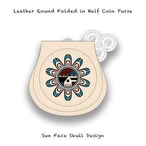 Leather Coin Purse / Sun Face Skull Design 001