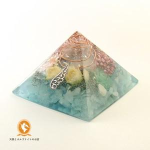 水の癒しのピラミッド アクアマリン 黄金比 オルゴナイト pd1008aqu00013