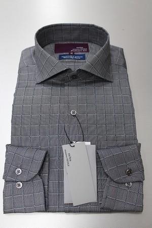 NICOLE MONSIEUR NICOLE MONTIブロックチェックドレスシャツ グレー