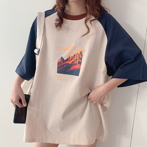 【トップス】韓国風シンプルカジュアル切り替え配色プリントTシャツ27178798