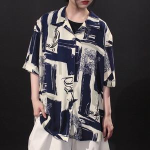 wide silhouette paint art & symbol design open-collar viscose shirt
