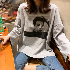 【トップス】カジュアル韓国系プリントラウンドネックTシャツ24512250