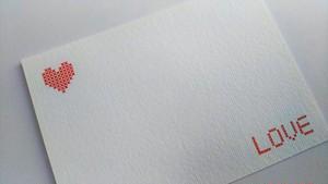 パペティエールオリジナルイラスト ハーフポストカード ステッチハートホワイト 5枚セット