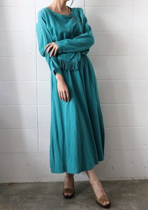 70's turquoise blue dress