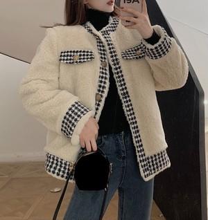 feminine 千鳥格子デザインボアジャケット c2168
