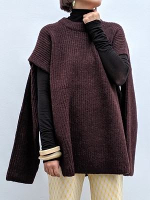SLIT KNIT PULLOVER - D/BROWN