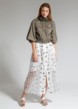 ANIMAL PLEATS SKIRT ★WHITE SOLD OUT