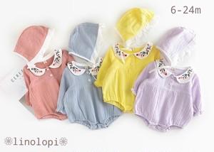 6-24m❁ボンネット付き刺繍ロンパース