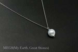 Naturale『自然 SHIZEN』1粒ネックレス 【10K 刻印入 無調色!ブルーあこや真珠】