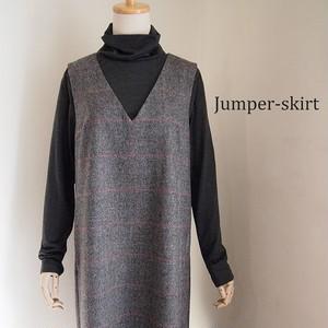 【L】ウィンドペン・ウールツイードジャンパースカート