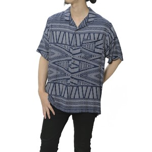 BANDANA PRINTED OPEN COLLAR SHIRT - NAVY