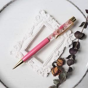 【アクリルケース付き】10ハーバリウムボールペン【Pink & Momo】(可愛いピンク色・春の花吹雪)