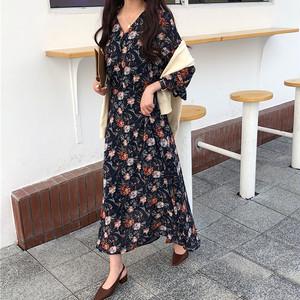 【ワンピース】新作韓国風ファッション合わせやすい花柄Vネックワンピース