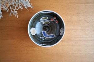 砥部焼/「青い鳥」丸型小丼/内絵/森陶房kaori