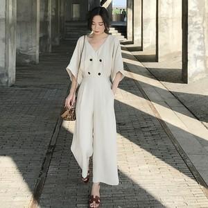 【ワンピース】ファッションVネック半袖ハイウエストフェミニンオールインワン22315804
