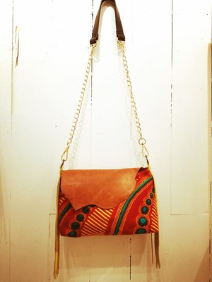 【クリスマスSALE 】Fringe Bag Red×Brown