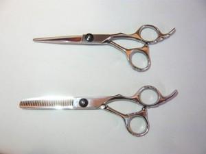 美容師専用カットシザー&セニングシザー2点セット/各6インチ/黒ねじタイプ
