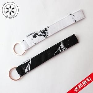 【送料無料】renna deluxe MARBLE lanyard short W15cm × D2cm マーブル ホワイト ブラック キーチェーン ローズゴールドコッパー