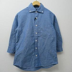 Men's Audience ワイドスプレッドコットンリネンダンガリー7分B.Dシャツ  COL,BLUE