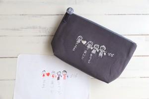 ポーチ<ダークグレー> 定番人気アイテム!10cm以上の刺繍をお求めの方に!