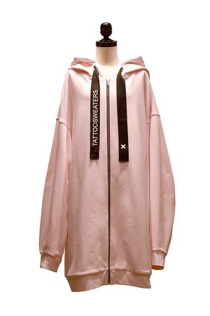 TATTOOSWEATERS / LONG ZIPPED HOODIE FREE OF TATOO / Pink