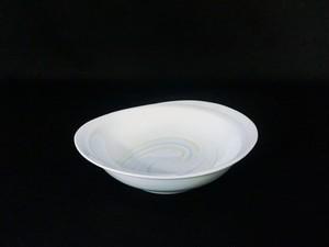 井上康徳作】白磁彩釉楕円 皿(中)